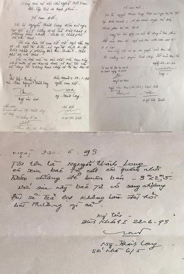 """Ông Nguyễn Thanh Long (cháu ông Hai) viết một giấy tay mượn của ông Hai gần 10m2 đất để cất quán nhỏ buôn bán. Trong đó nêu rõ: """"Nếu sau này bác Tư (ông Hai – PV) có sang nhượng tôi sẽ trả lại không đòi hỏi bồi thường gì cả""""."""