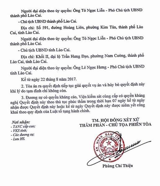 Quyết định tạm đình chỉ vụ án của TAND tỉnh Lào Cai.