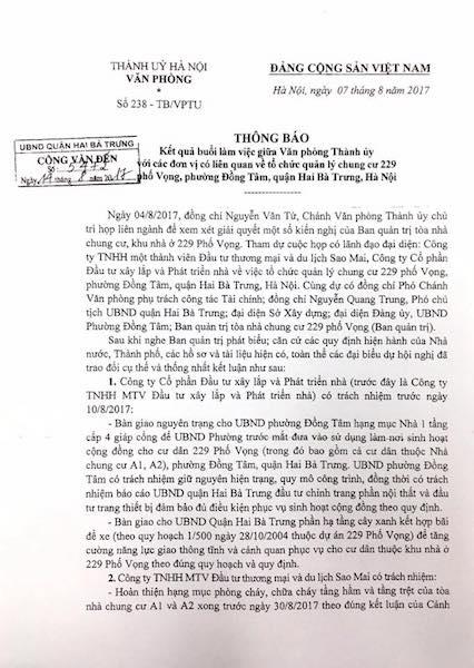 """Cư dân chung cư 229 Phố Vọng kêu cứu: Chủ đầu tư """"thách thức"""" pháp luật, cơ quan nhà nước ở đâu? - 1"""