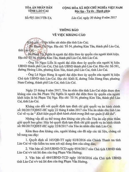 Vụ kiện chủ tịch tỉnh Lào Cai bất ngờ bị tạm đình chỉ, người dân kháng cáo những gì? - 1
