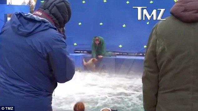 Cuối cùng, chú chó đã bị buộc phải ngâm mình trong dòng nước sủi bọt nhưng ngay lập tức chú đã bị chìm nghỉm xuống dưới mặt nước khiến đoàn phim hoảng sợ.