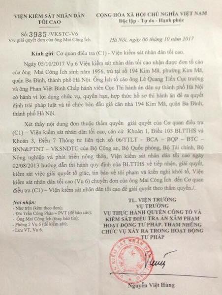Chuyển cơ quan điều tra VKSND Tối cao nội dung tố cáo Cục trưởng Cục thi hành án Hà Nội.