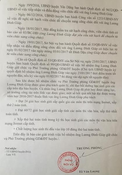 Quy trình bổ nhiệm và thành tích của thầy giáo Lương Đình Giáp làm Phó trưởng phòng giáo dục và đào tạo được phòng Nội vụ huyện Yên Dũng làm rõ.