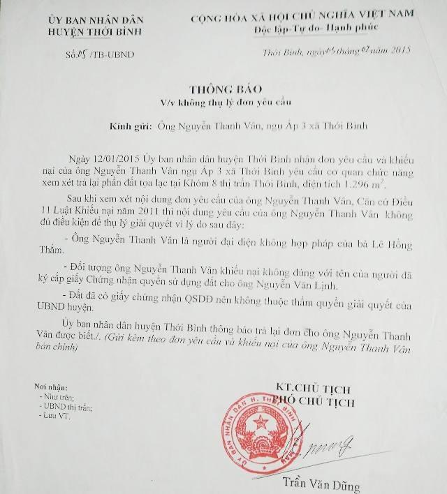 Ông Trần Văn Dũng vào năm 2015 là Phó Chủ tịch huyện Thới Bình, có ký thông báo không thụ lý đơn yêu cầu của phía bà Lê Hồng Thấm.