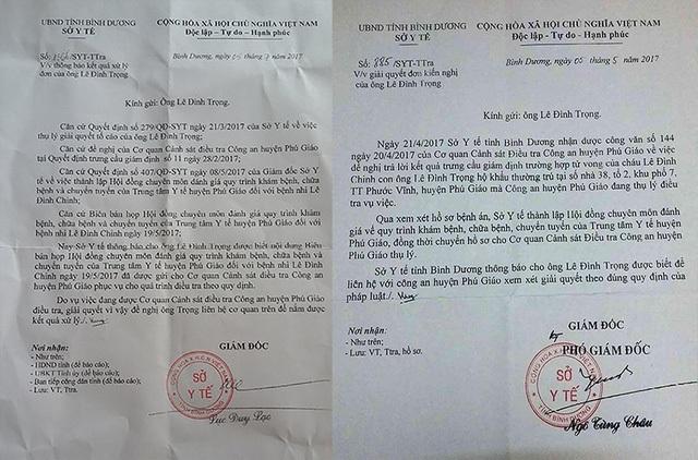 Hai văn bản thông báo của Sở Y tế Bình Dương gửi đến ông Trọng.