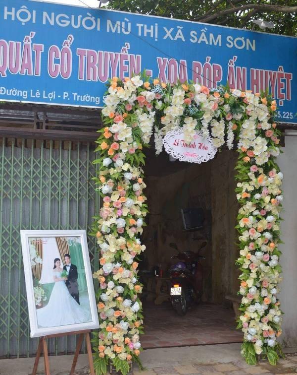 Đám cưới của đôi bạn trẻ được tổ chức tại trụ sở Hội Người mù thành phố Sầm Sơn