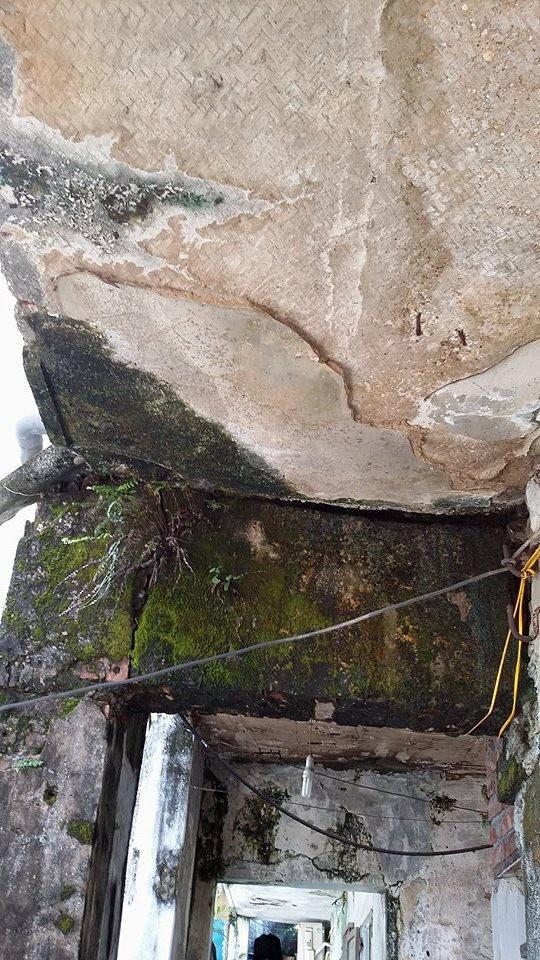 Tường nhà bong tróc, ngấm nước dột nát...gây nguy hiểm