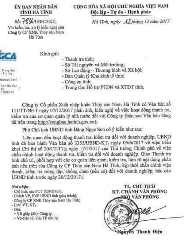 Chủ tịch UBND tỉnh Hà Tĩnh giao Thanh tra tỉnh này phải báo cáo kết quả kiểm tra phản ánh của doanh nghiệp trước ngày 20/12/2017.