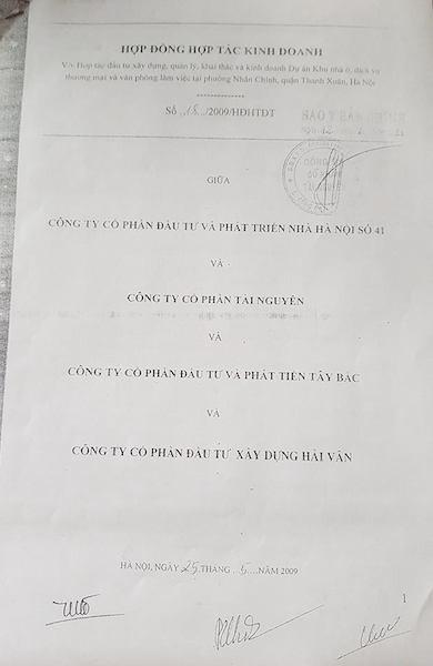 Hợp đồng hợp tác kinh doanh số 18/2009/HĐHTĐT được ký ngày 25/5/2009 giữa Công ty cổ phần đầu tư và phát triển nhà Hà Nội số 41 và Công ty cổ phần Tài Nguyên, Công ty cổ phần đầu tư và phát triển Tây Bắc, Công ty cổ phần đầu tư xây dựng Hải Vân.