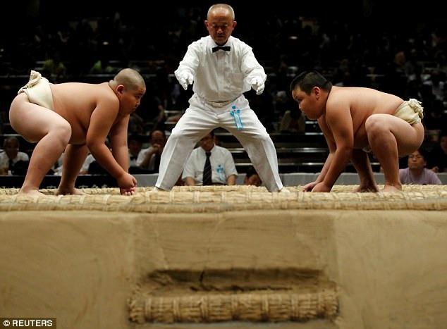 Những em nhỏ sớm theo đuổi sự nghiệp võ sĩ sumo sẽ cố gắng thể hiện tốt tại các cuộc thi đấu như thế này, để con đường trở thành võ sĩ chuyên nghiệp thuận lợi hơn. (Ảnh: Reuters)