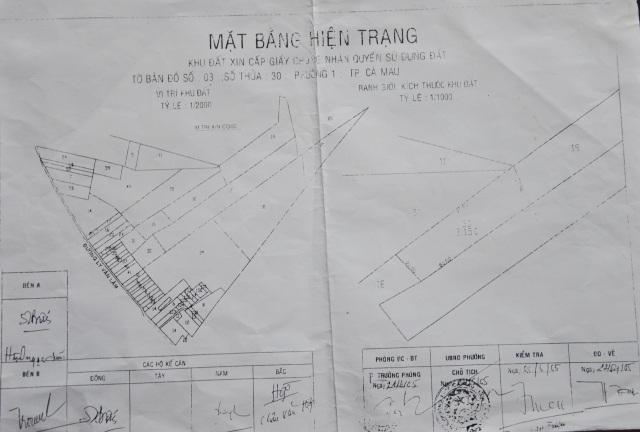 Hiện trạng năm 2005, phần hậu các dãy nhà phía trước đất của ông Trọng là ngang nhau…