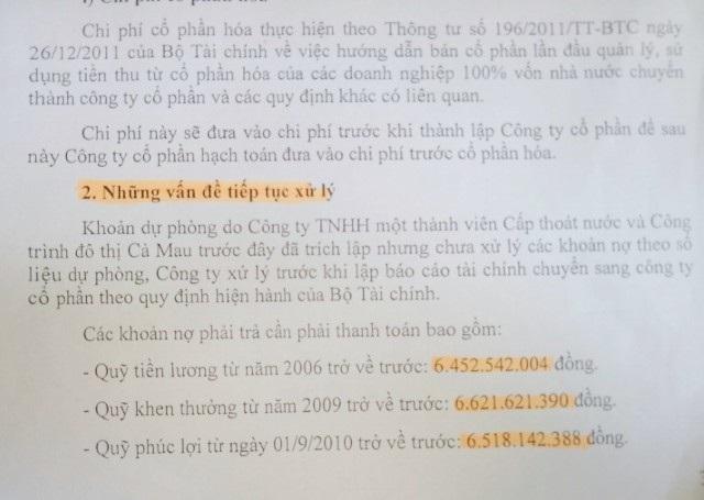 Theo Quyết định số 1505 ngày 12/10/2015 của UBND tỉnh Cà Mau, nêu rõ số nợ đối với người lao động phải được xử lý trước khi lập báo cáo tài chính chuyển sang cổ phần hóa (năm 2013) theo quy định của Bộ Tài chính.