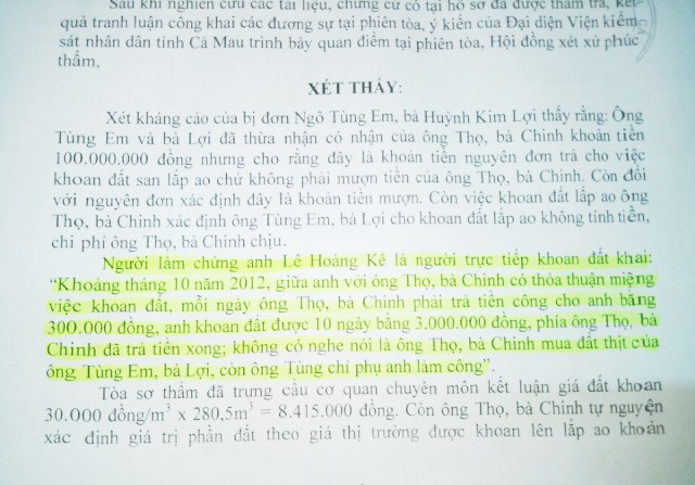 Trong khi đó, lời khai với tòa thì ông Lê Hoàng Kê cho rằng, ông không nghe nói là ông Thọ, bà Chinh có mua đất thịt của ông Tùng Em.