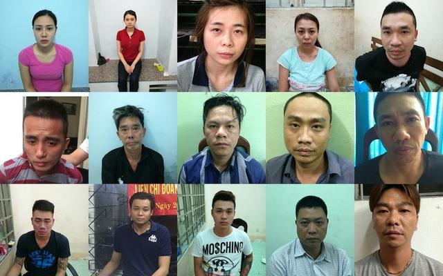 Trần Ngọc Hiếu (thứ 5, hàng đầu từ trái sang phải), ông trùm đường dây sản xuất, tiêu thụ ma túy lớn nhất từ trước đến nay trên cả nước, cùng 14 đồng phạm.