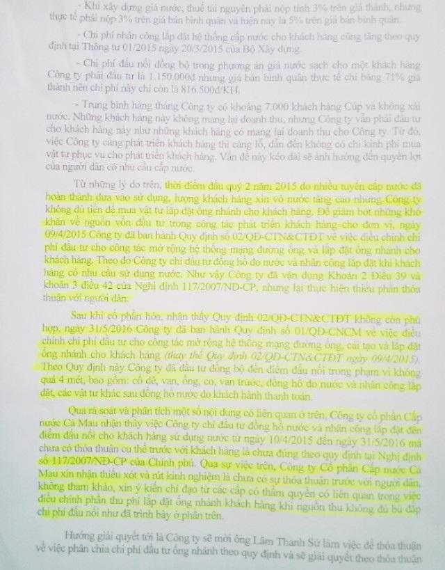 Công ty Cổ phần Cấp nước Cà Mau thừa nhận đã thực hiện không đúng Nghị định 117/2017 của Chính phủ.