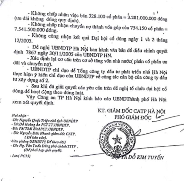 Báo cáo của Công an TP Hà Nội chỉ ra rõ các sai phạm và trách nhiệm thuộc về ông Nguyễn Chí Sỹ, nguyên giám đốc công ty.