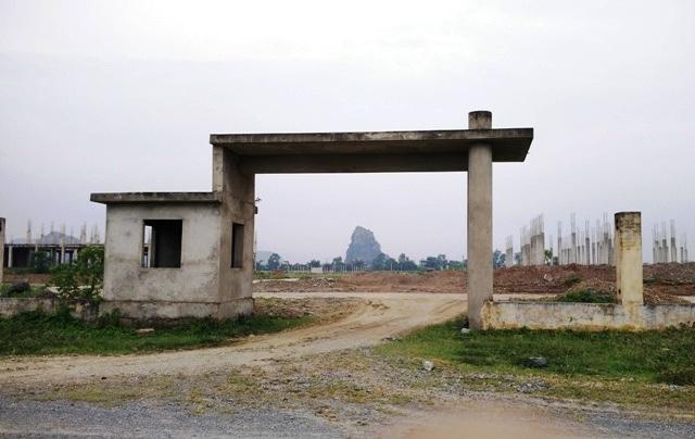 Cổng trường được xây dựng nhưng chưa có cánh cửa nên người dân tự do đưa trâu bò vào chăn thả, biến nơi đây thành bãi đất hoang, nơi chăn thả gia súc.