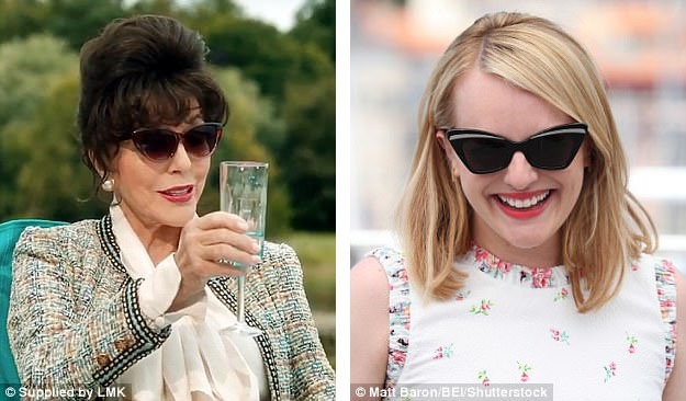 Nữ diễn viên Joan Collins (trái) và Elisabeth Moss (phải) cũng hoài cổ với kính mắt mèo.