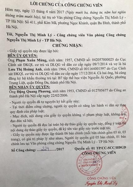 Ông Đặng Quang Phương, nguyên phó Chánh án TAND Tối cao chính thức nhận ủy quyền sau khi có 2 văn bản gửi Chánh án TAND Tối cao nhận là người thân thích của nguyên đơn.