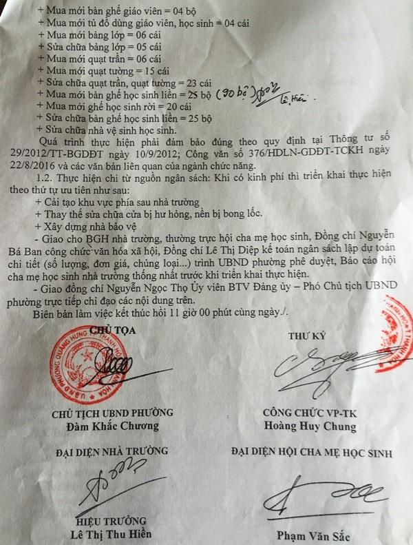 UBND phường Quảng Hưng đồng ý cho nhà trường một số khoản vận động từ nguồn xã hội hóa