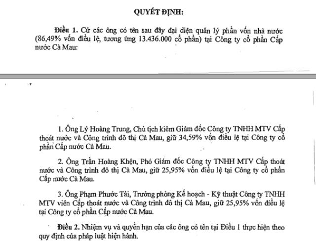 Trên thực tế, các ông Lý Hoàng Trung, Trần Hoàng Khện và Phạm Phước Tài là viên chức Nhà nước, nên UBND tỉnh Cà Mau có quyền kỷ luật đối với các vị này theo quy định của Luật viên chức.