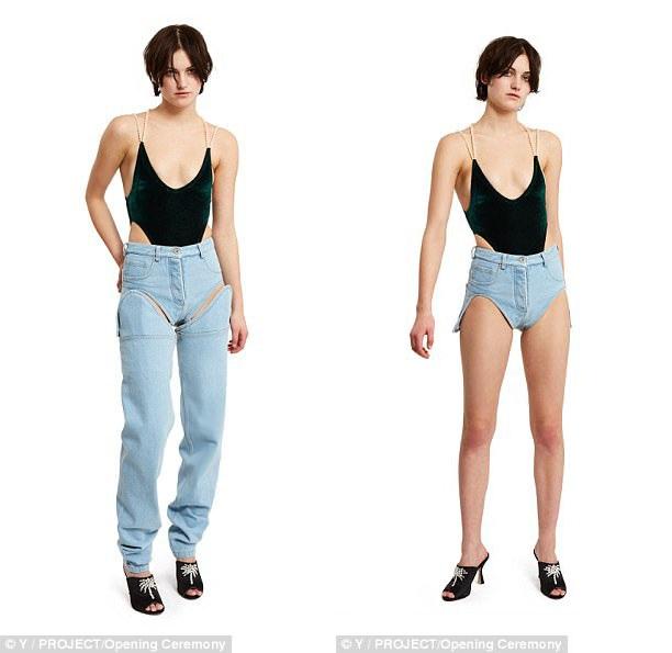 "Gần đây, thương hiệu thời trang Y Project (Pháp) cũng vừa cho ra mắt một mẫu quần jeans gây xôn xao trong giới sành mốt. Đó là một mẫu jeans ""2 trong 1"", có thể mặc ở dạng quần soóc, cũng có thể ""gắn"" thêm ống quần và tạo thành quần dài (dù không thực sự kín đáo)."