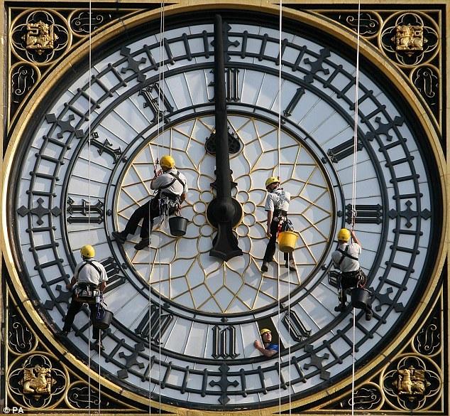 Chiếc đồng hồ nổi tiếng thế giới đã từng có giai đoạn ngưng hoạt động để sửa chữa hồi năm 2007, khi đó, công nhân đã treo mình trên bề mặt đồng hồ và làm vệ sinh như thế này.