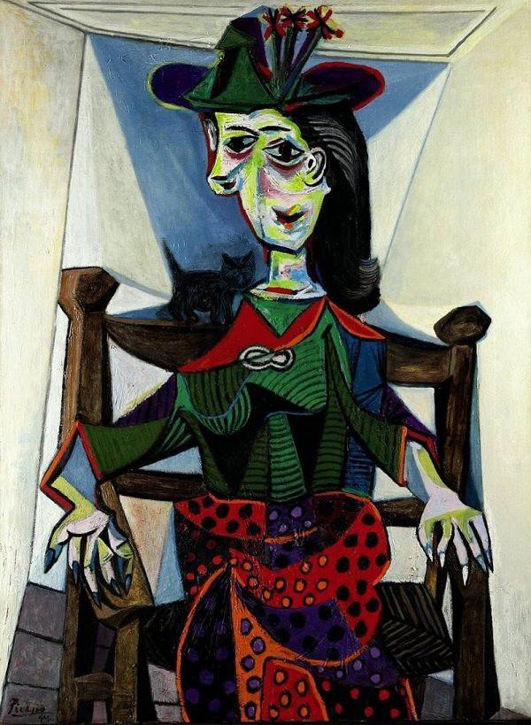 """11 - """"Dora Maar au Chat"""" (Dora Maar và chú mèo - 1941) của danh họa người Tây Ban Nha Pablo Picasso từng được mua với giá 95,2 triệu USD hồi năm 2006, giờ đây, con số ấy tương đương 113,1 triệu USD (2.570 tỷ đồng)."""