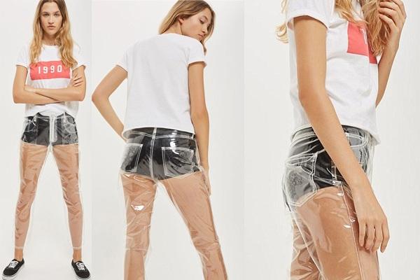 "Chiếc quần jeans làm từ vải nhựa trong suốt này hoàn toàn ""xuyên thấu"" và đã nhận được rất nhiều sự quan tâm chú ý trên mạng xã hội."