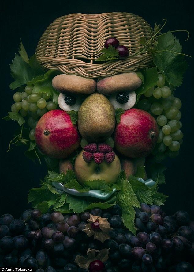 Anna sử dụng chiếc giỏ và chùm nho làm tóc, trái mâm xôi làm mắt và môi, quả lựu làm má, trái táo làm miệng.