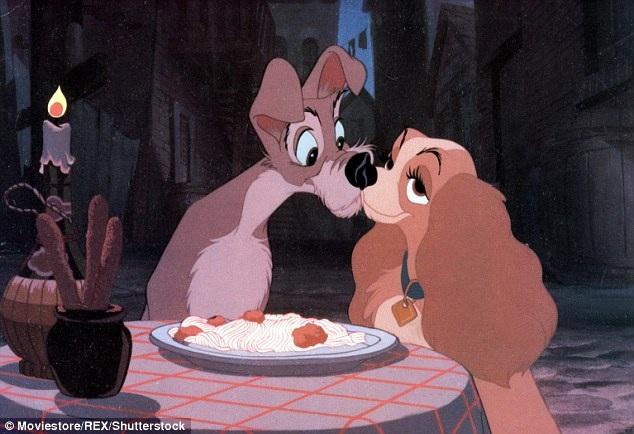 """Nụ hôn ngọt ngào thứ hai của màn ảnh cho thấy công chúng thích hoài cổ như thế nào… Đó chính là nụ hôn nhờ… sợi mì spaghetti trong bộ phim hoạt hình """"Lady and the Tramp"""" (Tiểu thư và chàng lang thang - 1955)."""