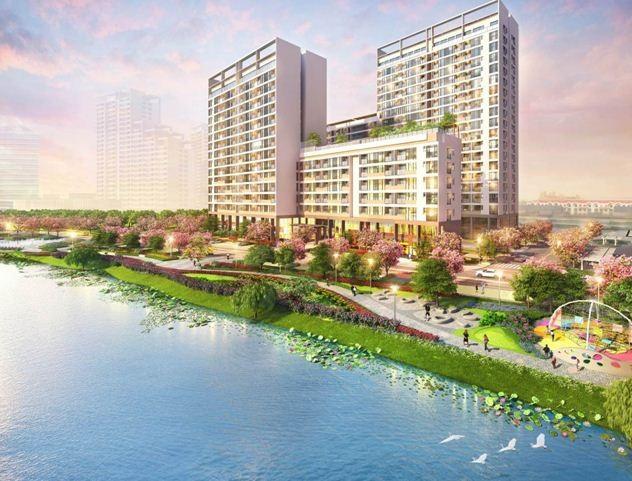 Bước vào khu the Symphony, cư dân sẽ được tận hưởng không gian xanh được thiết kế đẹp mắt trong nội khu dự án.