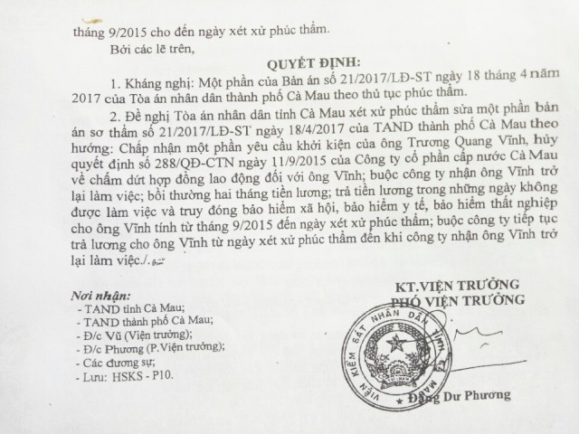 Viện KSND tỉnh Cà Mau nhận định, việc công ty cho người lao động nghỉ việc là vi phạm Khoản 2, Điều 46 Bộ luật Lao động. Từ đó, Viện KSND tỉnh Cà Mau đã Kháng nghị một phần bản án của TAND tỉnh Cà Mau, theo hướng xét xử nhận lại người lao động và giải quyết các chế độ đúng quy định.