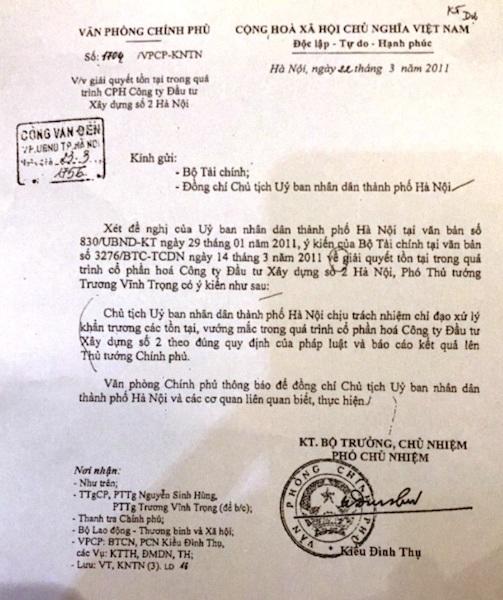 Phó Thủ tướng Chính phủ Trương Vĩnh Trọng cũng đã từng chỉ đạo UBND TP Hà Nội tiến hành cổ phần hóa HACINCO theo đúng quy định pháp luật.