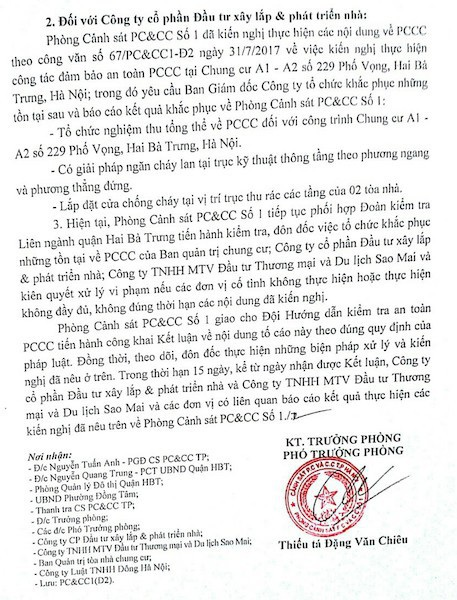 Cư dân cụm nhà chung cư 229 Phố Vọng còn rất bức xúc, phẫn nộ khi Công ty Đầu tư xây lắp chưa thực hiện yêu cầu của Phòng cảnh sát PC&CC Số 1 trong việc khắc phục các sai phạm trong công tác PCCC tại cụm nhà chung cư 229 Phố Vọng.