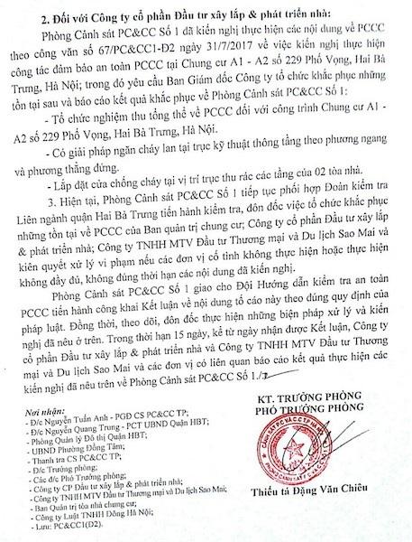 Cư dân cụm nhà chung cư 229 Phố Vọng còn rất bức xúc, phẫn nộ khi Công ty Đầu tư xây lắp chưa thực hiện yêu cầu nào của Phòng cảnh sát PC&CC Số 1 trong việc khắc phục các sai phạm trong công tác PCCC tại cụm nhà chung cư 229 Phố Vọng.