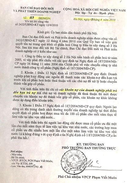 Ngày 19/4/2010, Phó chủ nhiệm Văn phòng Chính phủ Phạm Viết Muôn - Phó trưởng ban thường trực Ban chỉ đạo đổi mới và phát triển doanh nghiệp đã ký Công văn số 167/BĐMDN gửi UBND TP Hà Nội.