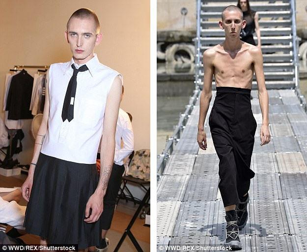 Những người mẫu nam tham gia show trình diễn của nhà thiết kế Rick Owens mới đây đều gầy guộc.