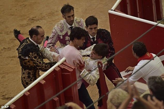 Caballero được đưa ra ngoài sân đấu sau khi bị bò húc.