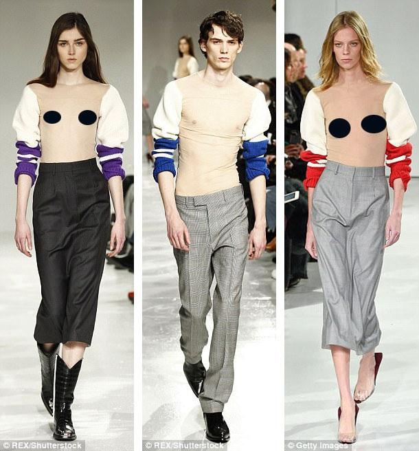 Với phần thân áo hoàn toàn trong suốt, mẫu áo len mùa thu này đã phá vỡ các định nghĩa về… một chiếc áo len. Nhiều người hài hước bình luận rằng mặc chiếc áo này, ít nhất bạn có thể… giữ ấm cánh tay. Các người mẫu khi trình diễn, đều không mặc gì bên trong.