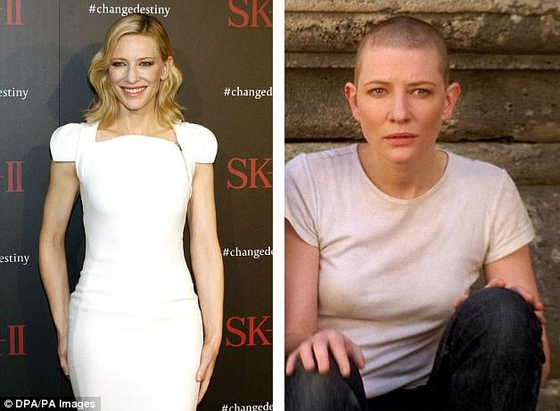 """Nhan sắc Úc Cate Blanchett (48 tuổi) cũng hy sinh mái tóc để nhập vai một góa phụ đang tìm cách đối diện với cuộc sống sau khi người chồng đột ngột qua đời trong bộ phim tâm lý tình cảm """"Heaven"""" (Thiên đường - 2002)."""