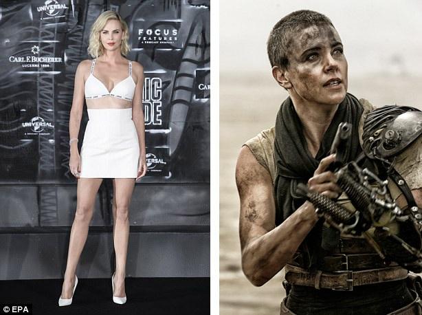 """Nữ diễn viên Charlize Theron (41 tuổi) nhập vai nữ quân nhân mạnh mẽ trong """"Mad Max: Fury Road"""" (Max điên: Con đường cuồng nộ) và quyết định để """"đầu cua"""" giống như nhân vật. Với kiểu đầu mới, Charlize cảm thấy bản thân mình tự do hơn bao giờ hết: """"Tôi thực sự thích kiểu đầu này và nghĩ rằng mỗi người phụ nữ trong đời đều nên có một lần thử để kiểu đầu này""""."""