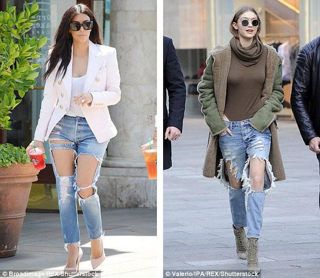 Ngôi sao truyền hình thực tế Kim Kardashian (trái). Người mẫu Gigi Hadid (phải).