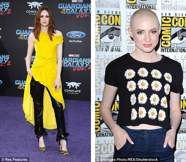 """Vốn thường gây ấn tượng với mái tóc màu lửa, nữ diễn viên Karen Gillan (29 tuổi) đã """"xuống tóc"""" khi vào vai phản diện Nebula trong bộ phim hành động giả tưởng """"Guardians Of The Galaxy 2"""" (Vệ binh dải ngân hà 2)."""