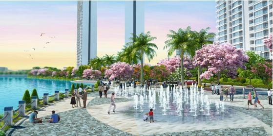 Khu vực trung tâm của SAKURA PARK với quảng trường nhạc nước