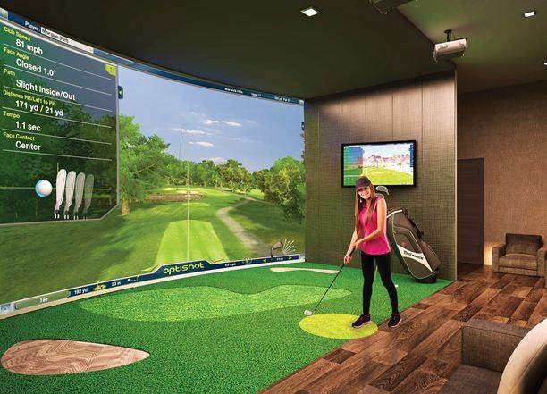 Tiện ích trong từng tòa nhà được thiết kế đa dạng, đáp ứng nhu cầu thư giãn, vận động của từng lứa tuổi. Hình minh họa phòng tập Golf mô phỏng trong nhà