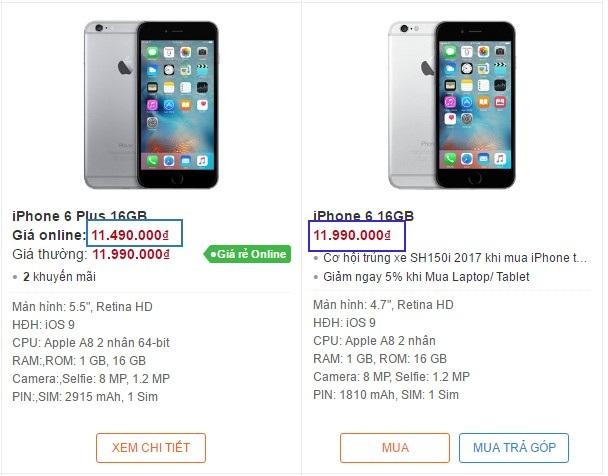Tại một đại lý khác, giá của iPhone 6 Plus cũng rẻ hơn 500.000 đồng so với iPhone 6.