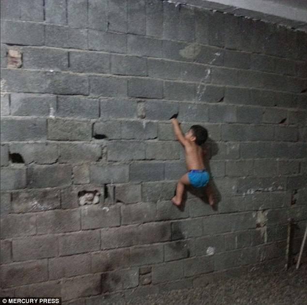 Cậu bé có thể leo tường bám dính như Người Nhện.