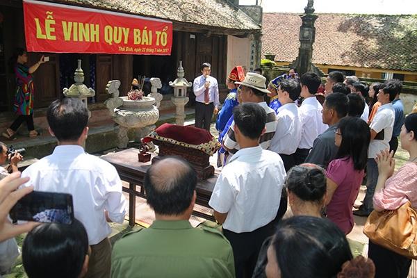 Lễ Vinh quy bái tổ của 3 Thủ khoa được tổ chức tại Đền Lưu Xá (xã Tân Canh, huyện Hưng Hà, tỉnh Thái Bình)