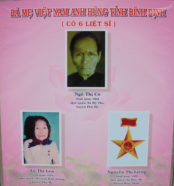 Mẹ Việt Nam anh hùng Ngô Thị Có (SN 1904, ở xã Mỹ Thọ, huyện Phù Mỹ, Bình Định) có tới 6 người con là liệt sĩ.